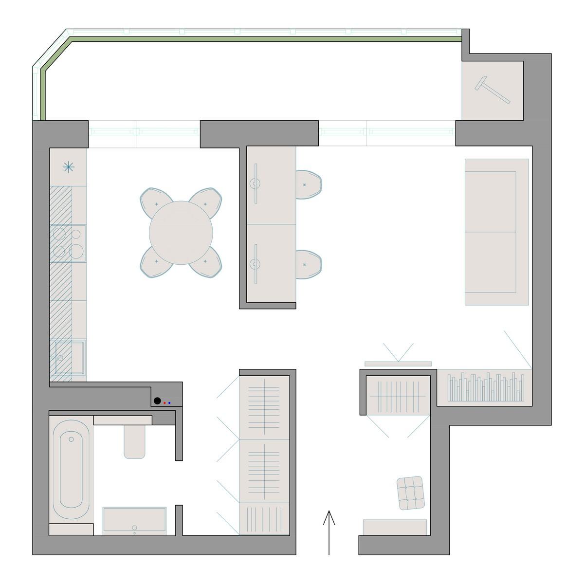 Планировка разработанная sreda.house для проекта интерьера однокомнатной квартиры